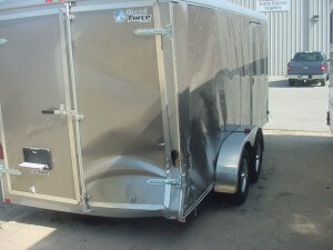 cargo trailer before repair
